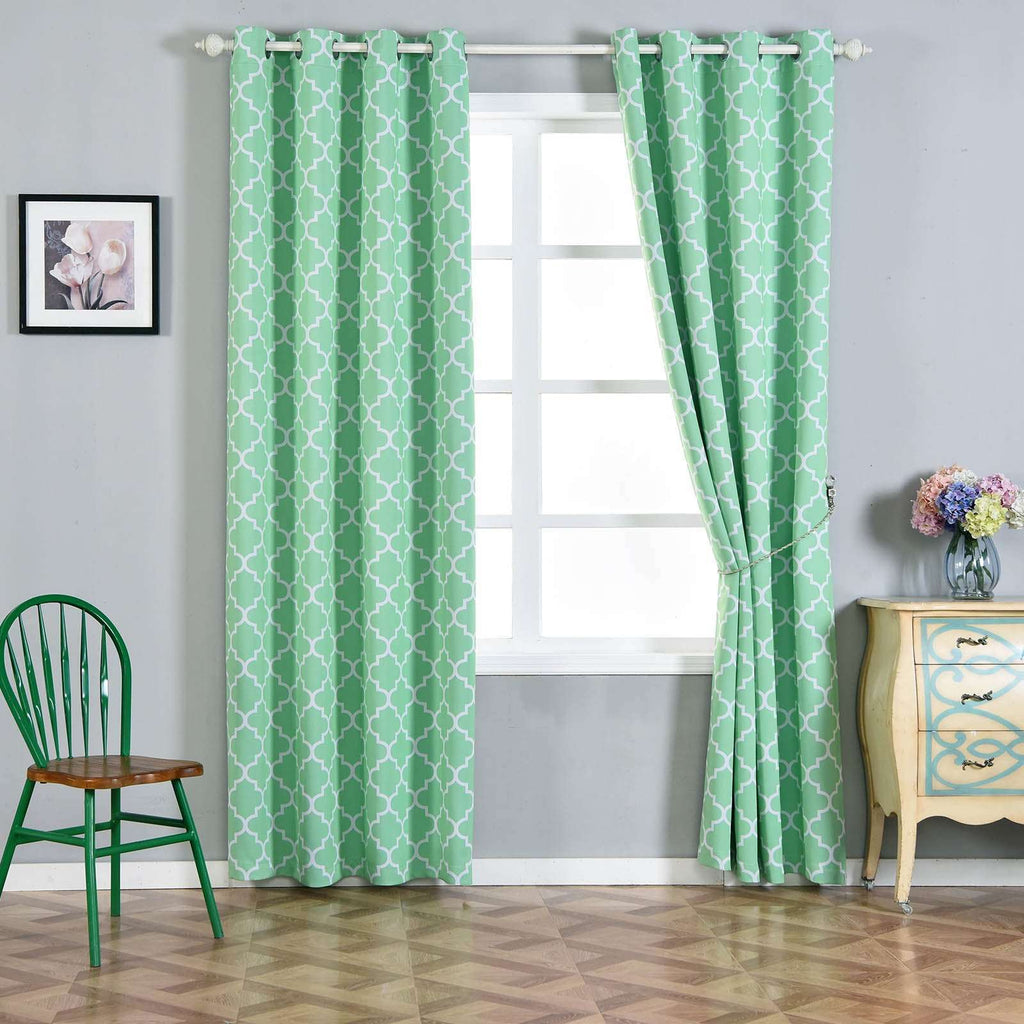 "2 Pack | 52""x96"" Lattice Print Thermal Blackout Curtains With Chrome Grommet Window Treatment Panels -White 