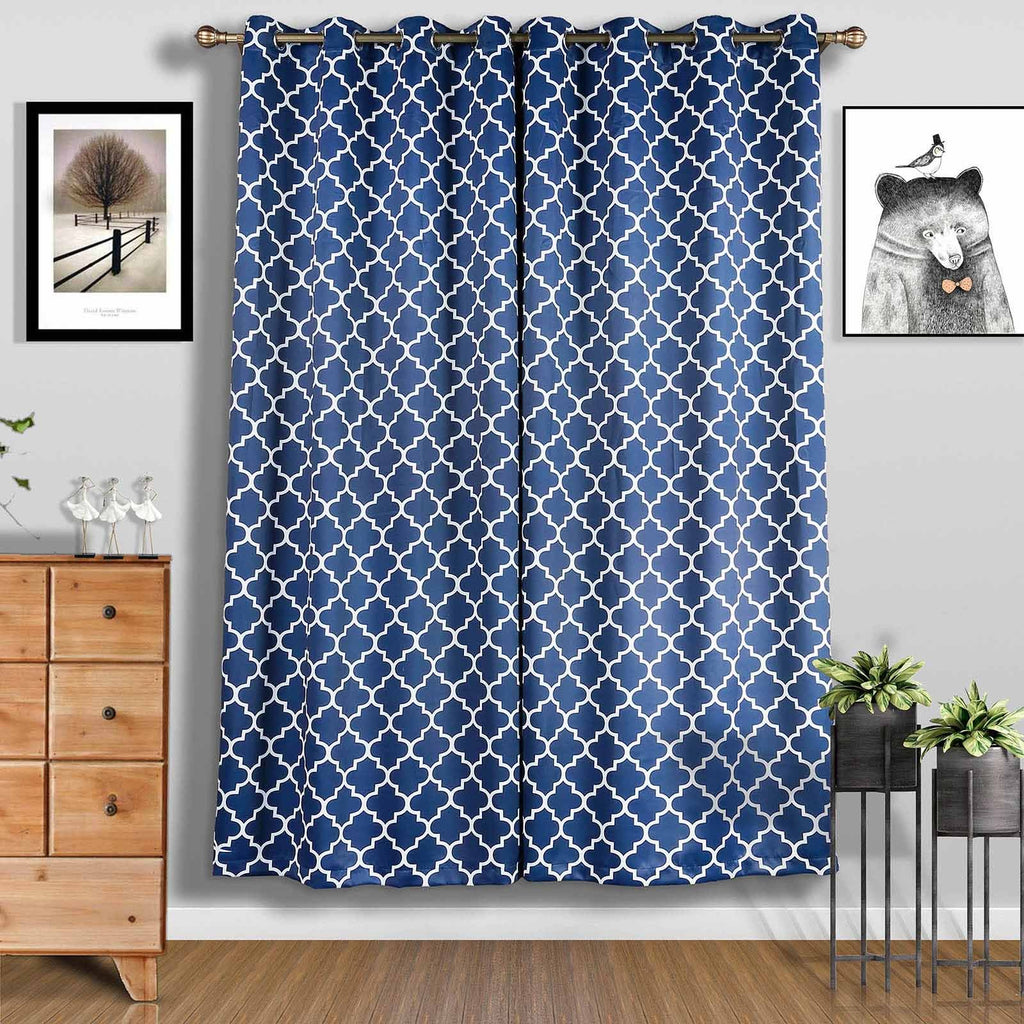 "2 Pack | 52""x96"" Lattice Print Thermal Blackout Curtains With Chrome Grommet Window Treatment Panels - White 