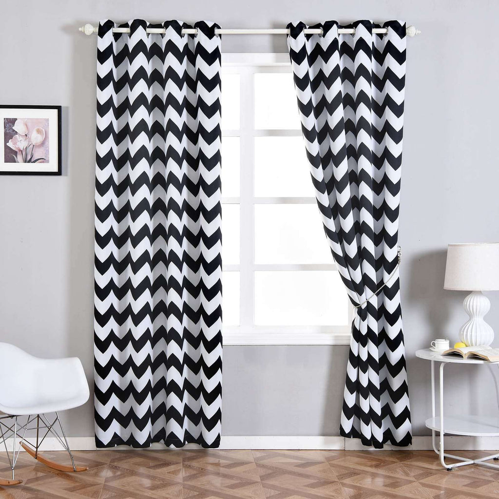 "2 Pack | 52""x108"" Thermal Blackout Curtains With Chrome Grommet Window Treatment Panels - White 