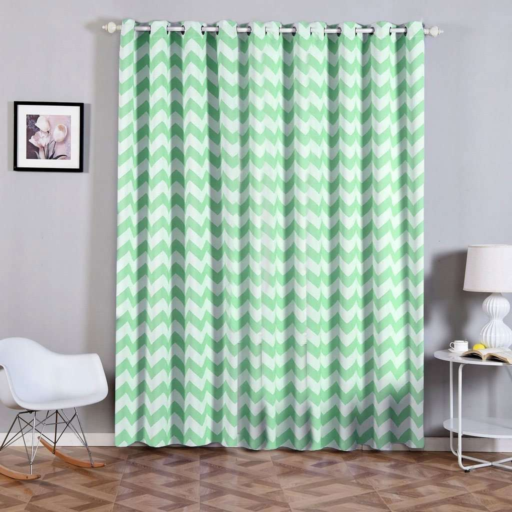 "2 Pack | 52""x96"" Chevron Design Thermal Blackout Curtains With Chrome Grommet Window Treatment Panels -White 