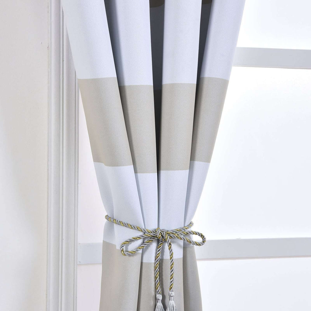 "2 Pack | 52""x108"" Cabana Stripe Thermal Blackout Curtains With Chrome Grommet Window Treatment Panels - White 