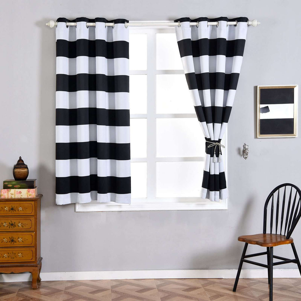 "2 Pack | 52""x64"" Cabana Stripe Thermal Blackout Curtains With Chrome Grommet Window Treatment Panels - White 