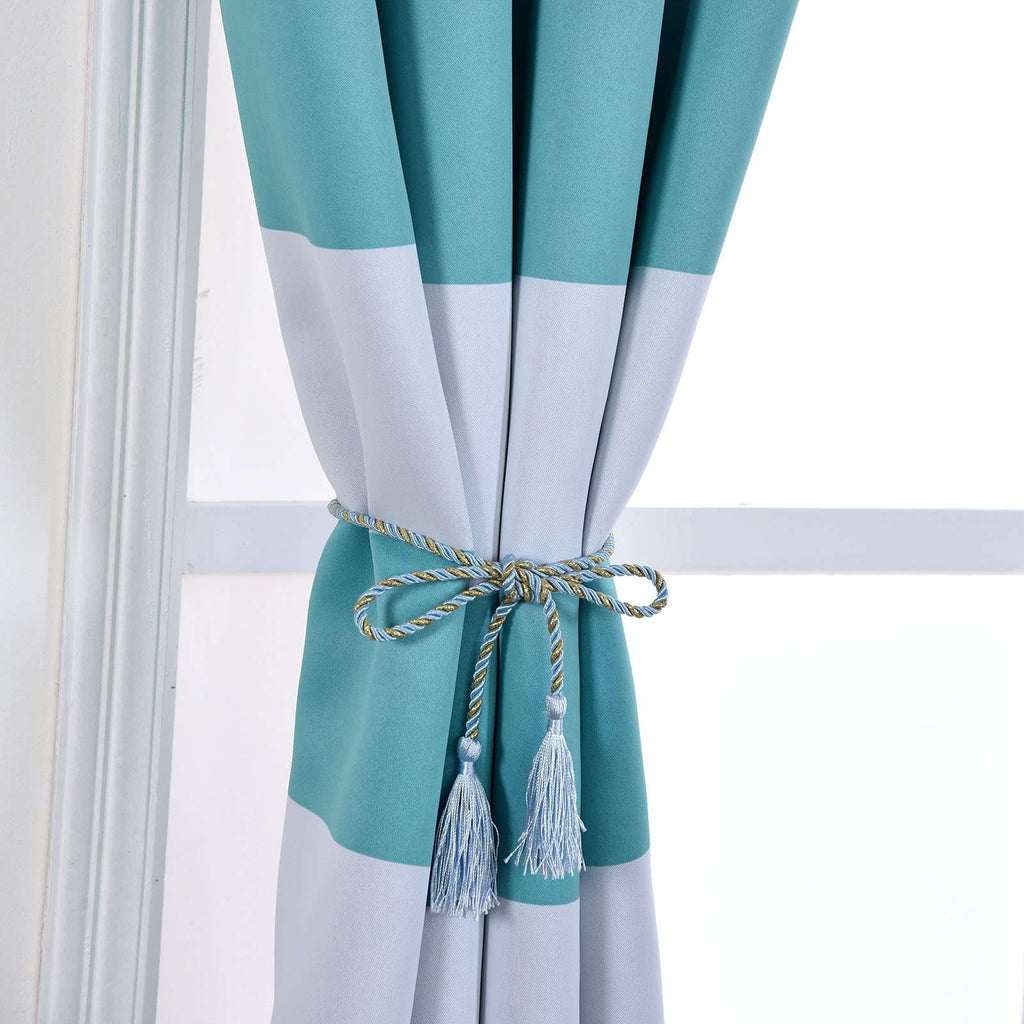 "Blackout Curtains 54x64"" White/Turquoise Cabana Stripe Pack of 2 Thermal Insulated With Chrome Grommet Window Treatment Panels"