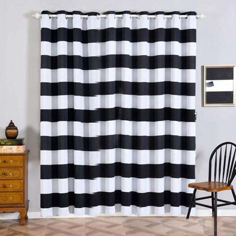 "2 Pack | 52""x96"" Cabana Stripe Thermal Blackout Curtains With Chrome Grommet Window Treatment Panels - White 