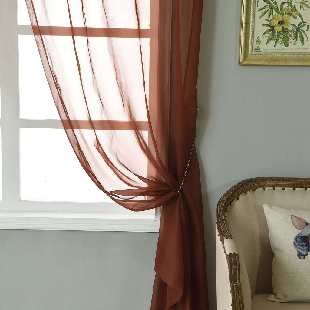 "2 Pack | 52""x108"" Chocolate Sheer Organza Curtains With Rod Pocket Window Treatment Panels"