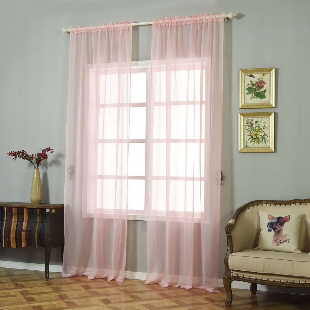 "2 Pack | 52""x108"" Sheer Organza Curtains With Rod Pocket Window Treatment Panels - Rose Gold 