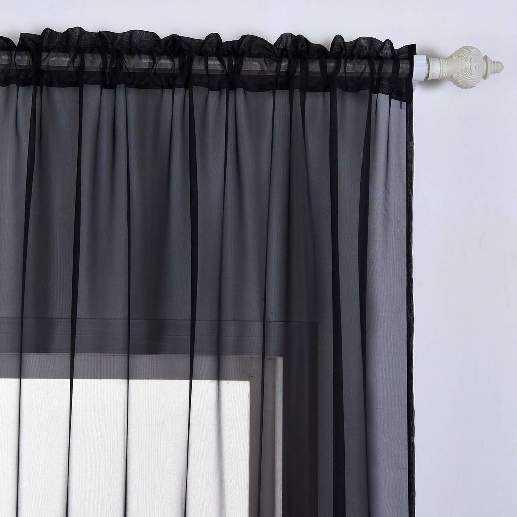 "2 Pack | 52""x108"" Black Sheer Organza Curtains With Rod Pocket Window Treatment Panels"