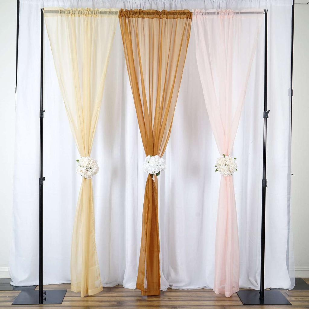 2 Pack | 9FT | Gold | Organza Sheer Backdrops Curtain Panel With Rod Pockets
