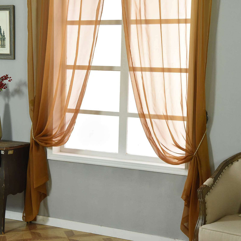 "2 Pack | 52""x108"" Gold Sheer Organza Curtains With Rod Pocket Window Treatment Panels"