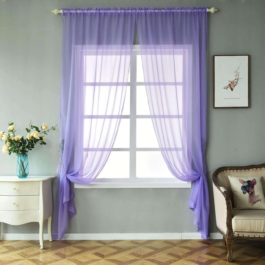 "2 Pack | 52""x108"" Lavender Sheer Organza Curtains With Rod Pocket Window Treatment Panels"