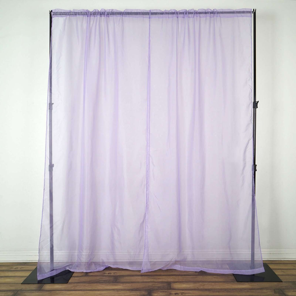2 Pack | 9FT | Lavender | Organza Sheer Backdrops Curtain Panel With Rod Pockets