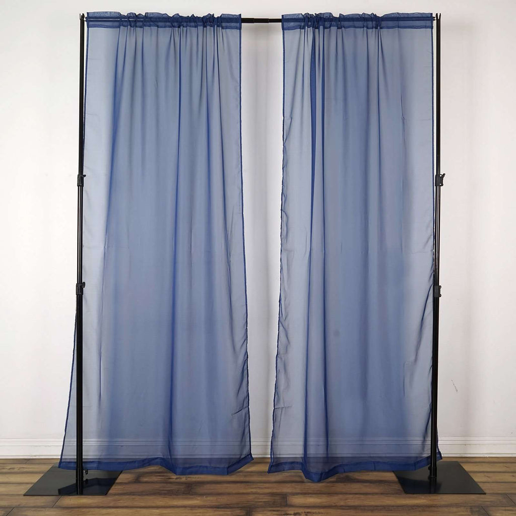 2 Pack | 9FT | Navy Blue | Organza Sheer Backdrops Curtain Panel With Rod Pockets