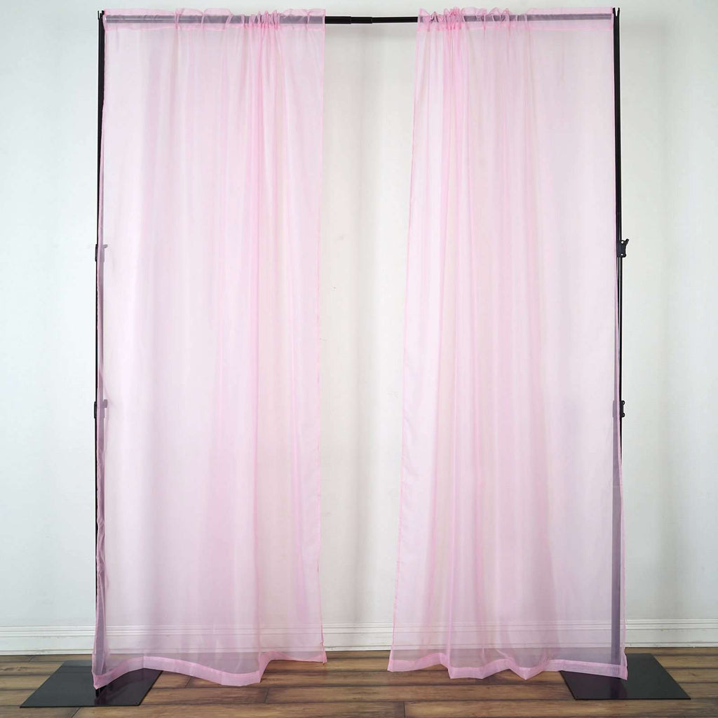 2 Pack | 9FT | Pink | Organza Sheer Backdrops Curtain Panel With Rod Pockets