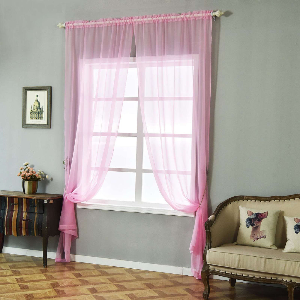 "52""x 108"" Pink Pack of 2 Sheer Organza with Rod Pocket Window Treatment Curtain Panels"