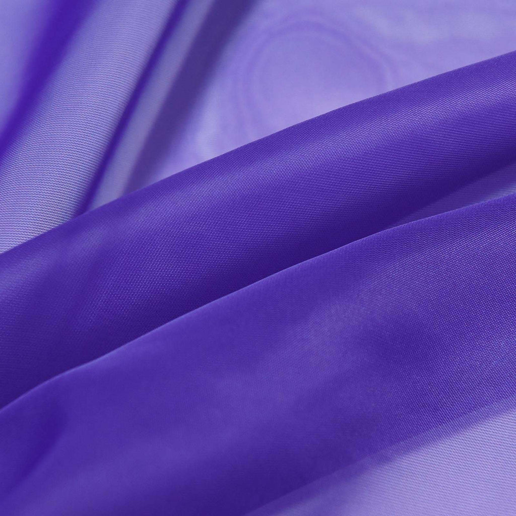 "2 Pack | 52""x108"" Purple Sheer Organza Curtains With Rod Pocket Window Treatment Panels"