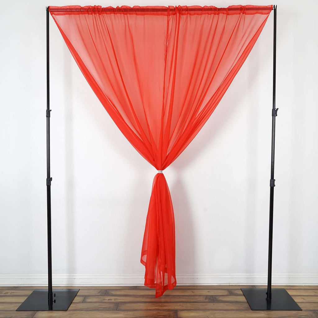 2 Pack | 9FT | Red | Organza Sheer Backdrops Curtain Panel With Rod Pockets