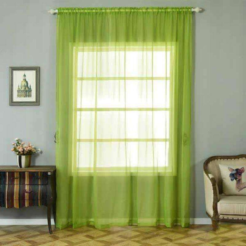 "2 Pack | 52""x108"" Sage Green Sheer Organza Curtains With Rod Pocket Window Treatment Panels"
