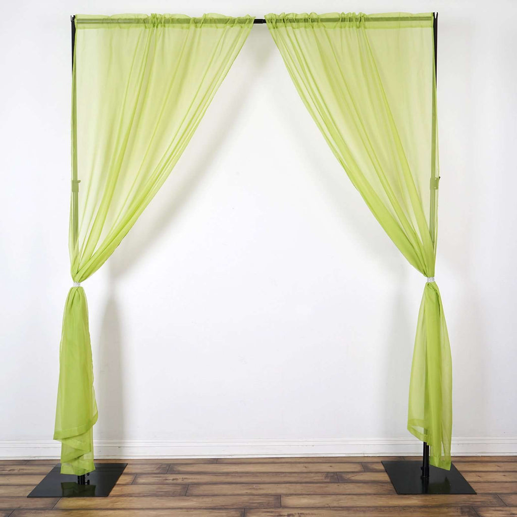 2 Pack | 9FT | Sage Green | Organza Sheer Backdrops Curtain Panel With Rod Pockets
