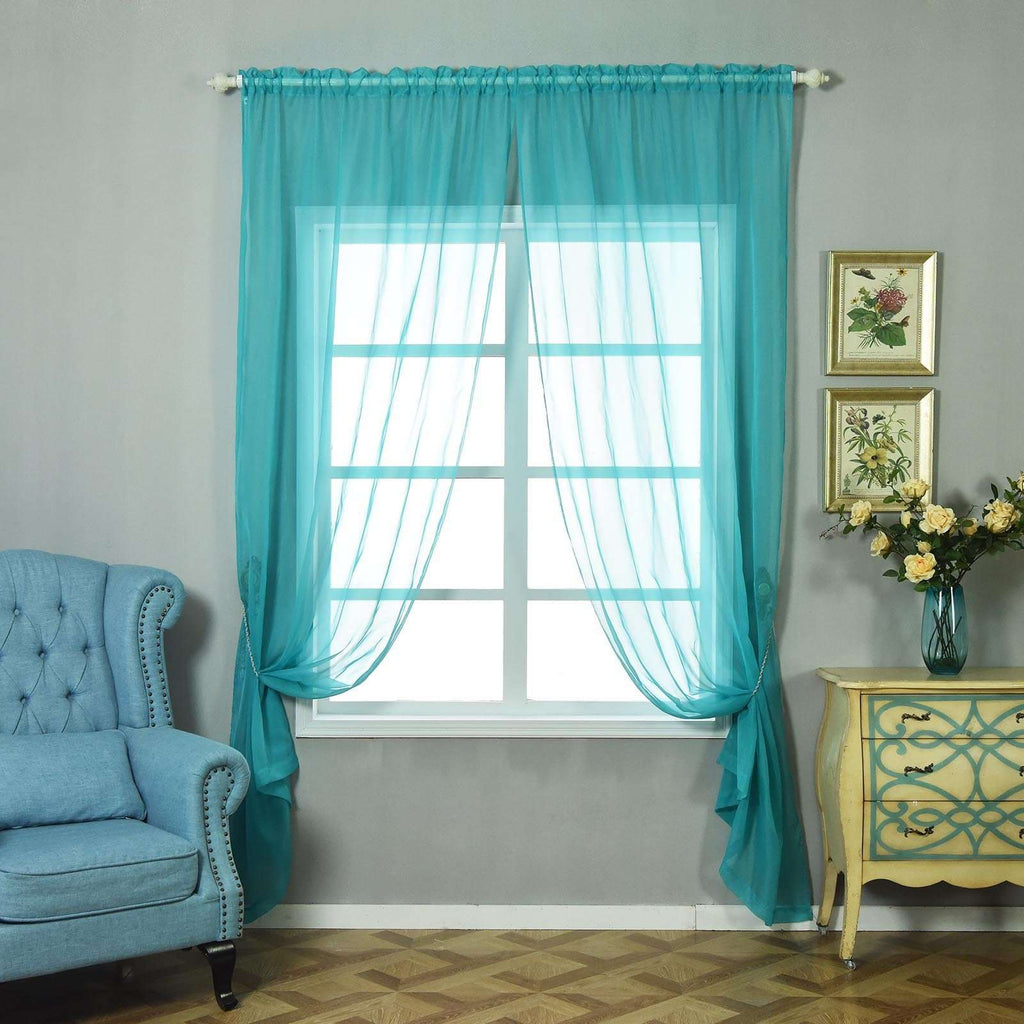 "52""x 108"" Turquoise Pack of 2 Sheer Organza with Rod Pocket Window Treatment Curtain Panels"