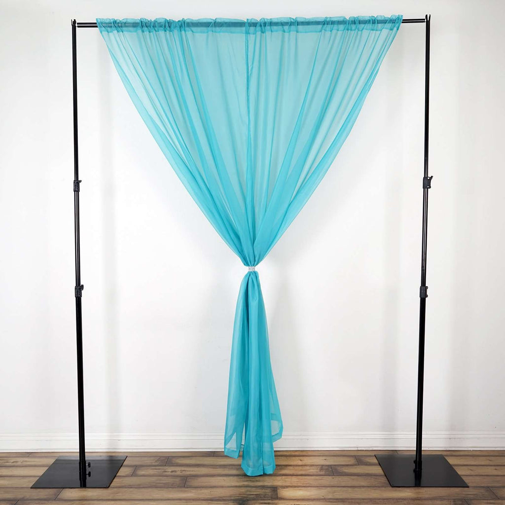 2 Pack | 9FT | Turquoise | Organza Sheer Backdrops Curtain Panel With Rod Pockets