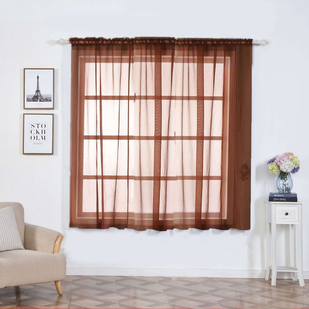 "2 Pack | 52""x64"" Chocolate Sheer Organza Curtains With Rod Pocket Window Treatment Panels"