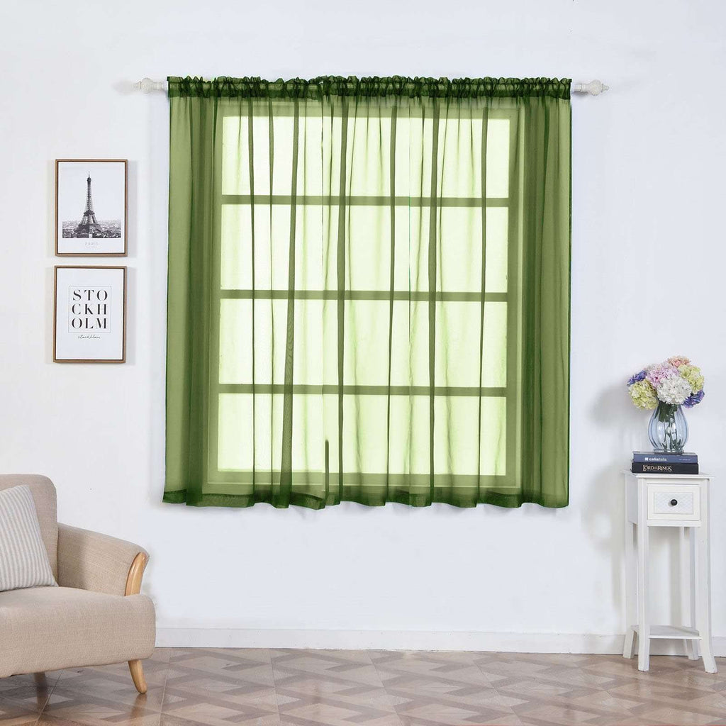 "2 Pack | 52""x64"" Willow Green Sheer Organza Curtains With Rod Pocket Window Treatment Panels"