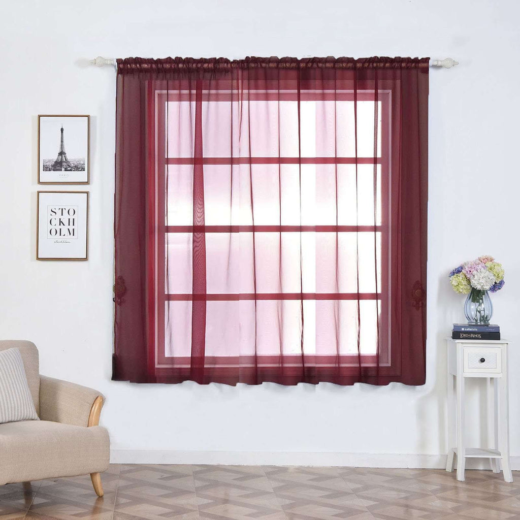 "2 Pack | 52""x64"" Burgundy Sheer Organza Curtains With Rod Pocket Window Treatment Panels"