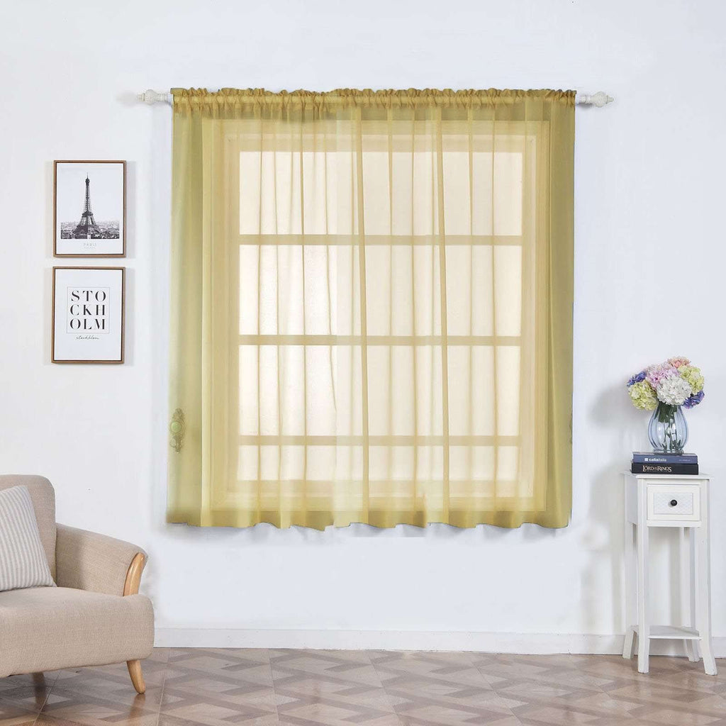 "2 Pack | 52""x64"" Champagne Sheer Organza Curtains With Rod Pocket Window Treatment Panels"