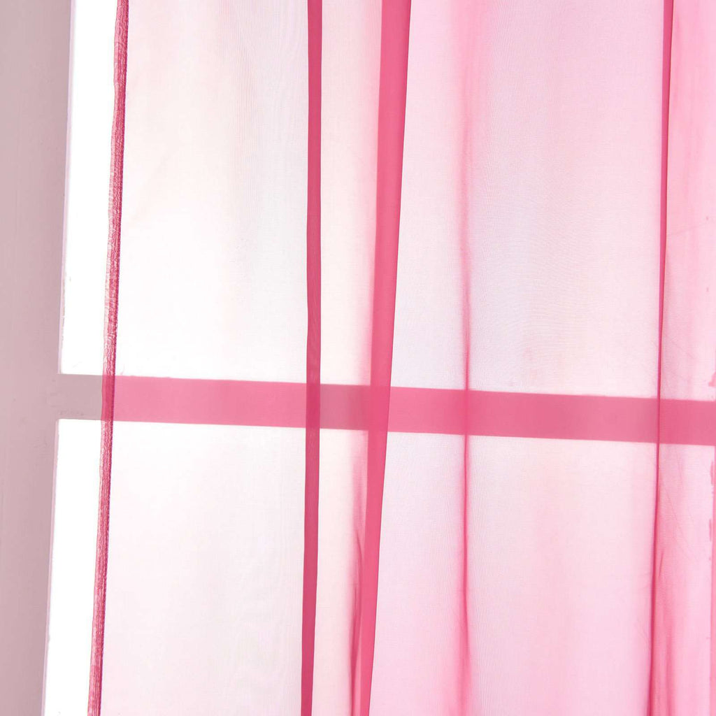 "52""x 64"" Fushia Pack of 2 Sheer Organza with Rod Pocket Window Treatment Curtain Panels"
