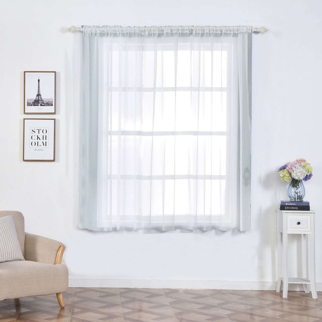 "2 Pack | 52""x64"" White Sheer Organza Curtains With Rod Pocket Window Treatment Panels"