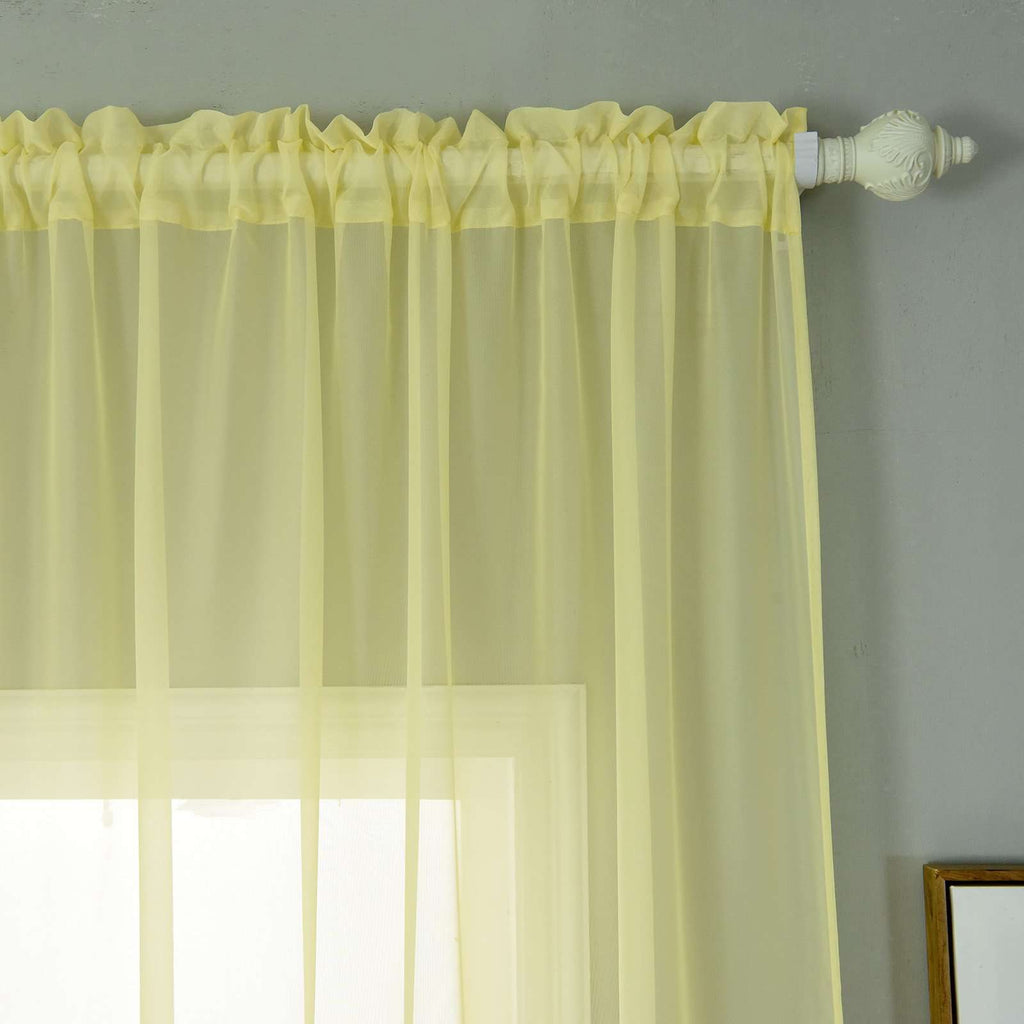 "2 Pack | 52""x64"" Yellow Sheer Organza Curtains With Rod Pocket Window Treatment Panels"