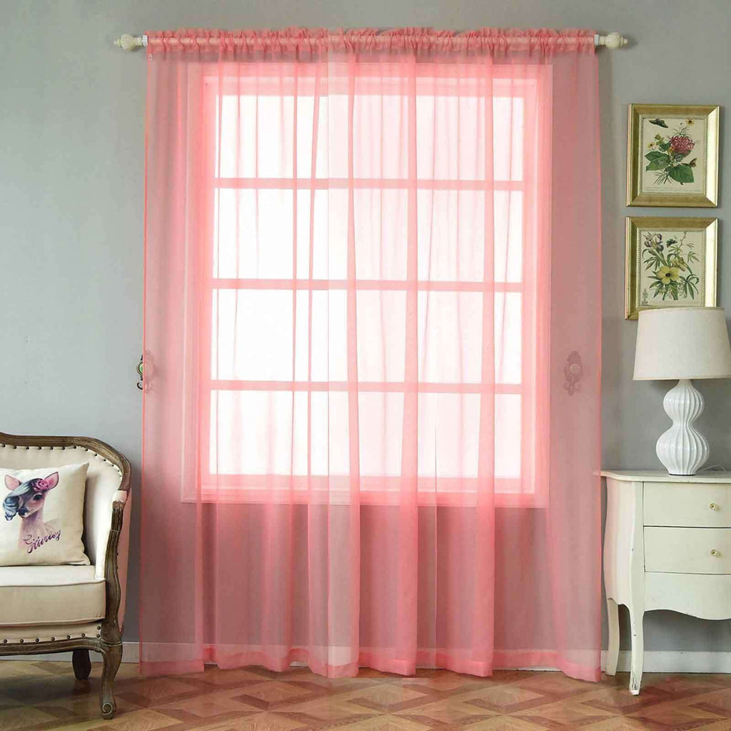"2 Pack | 52""x96"" Rose Quartz Sheer Organza Curtains With Rod Pocket Window Treatment Panels"