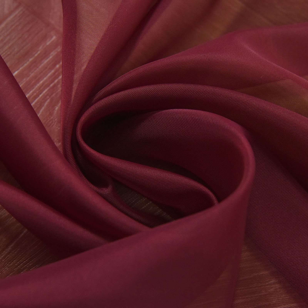 "2 Pack | 52""x96"" Burgundy Sheer Organza Curtains With Rod Pocket Window Treatment Panels"