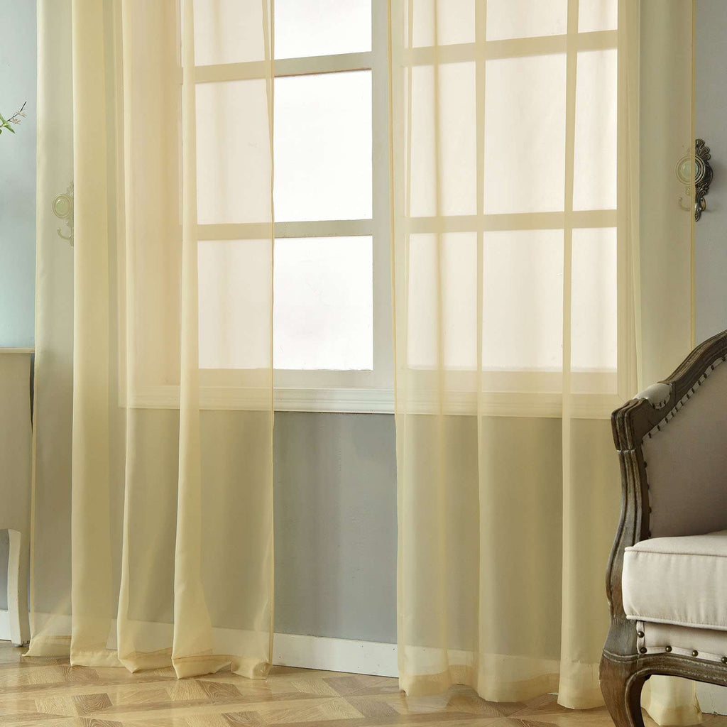"2 Pack | 52""x96"" Champagne Sheer Organza Curtains With Rod Pocket Window Treatment Panels"