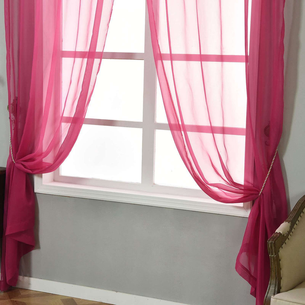 "52""x 96"" Fushia Pack of 2 Sheer Organza with Rod Pocket Window Treatment Curtain Panels"