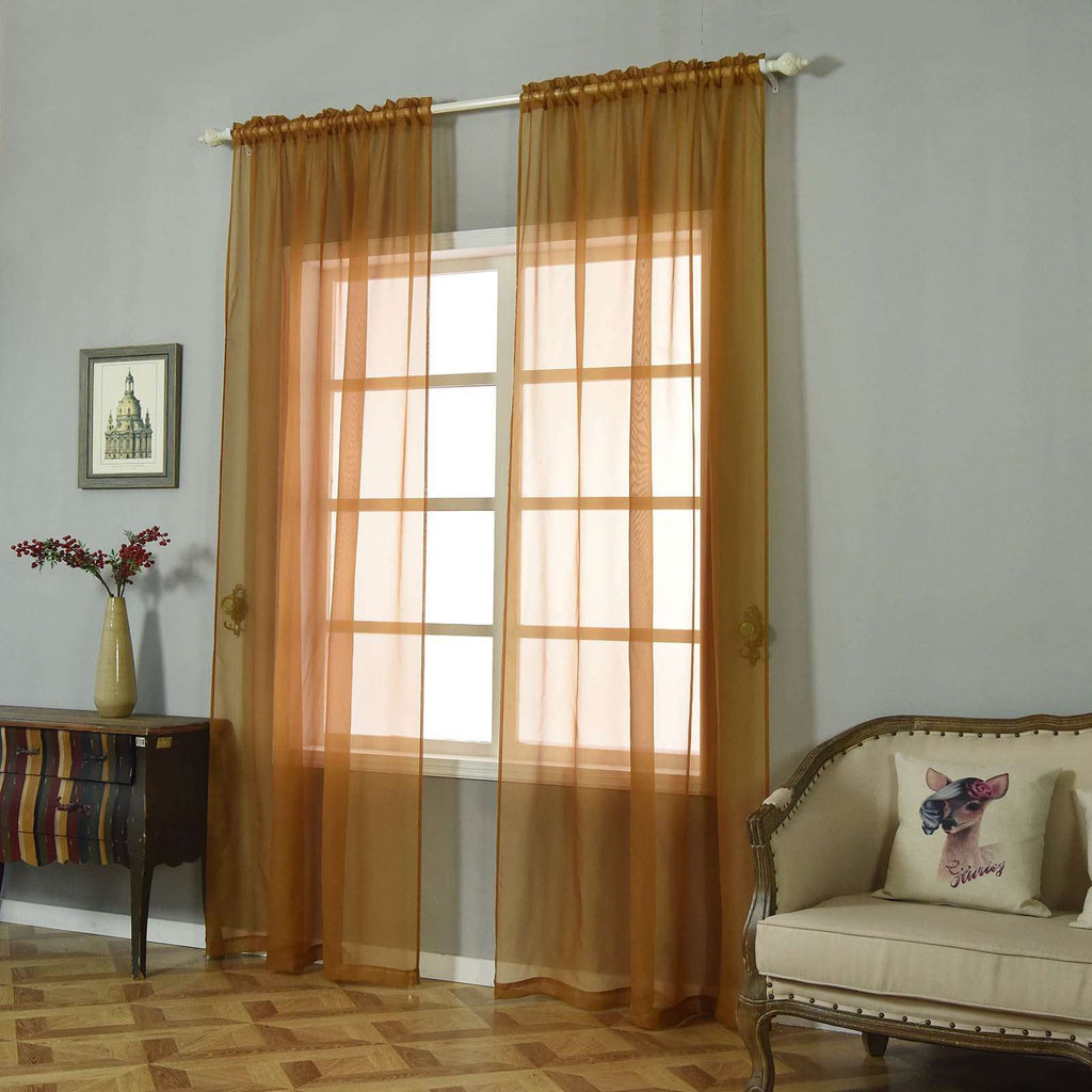 "2 Pack | 52""x96"" Gold Sheer Organza Curtains With Rod Pocket Window Treatment Panels"