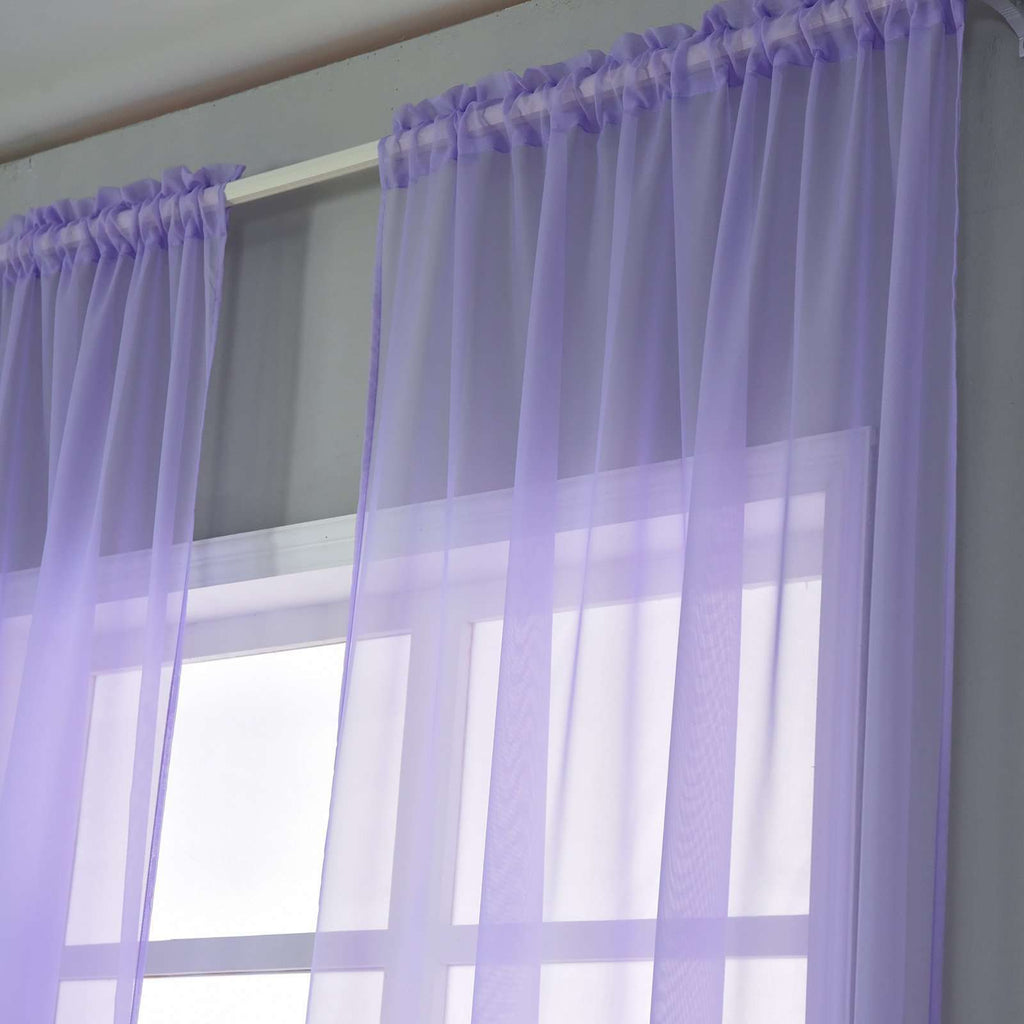 "2 Pack | 52""x96"" Lavender Sheer Organza Curtains With Rod Pocket Window Treatment Panels"