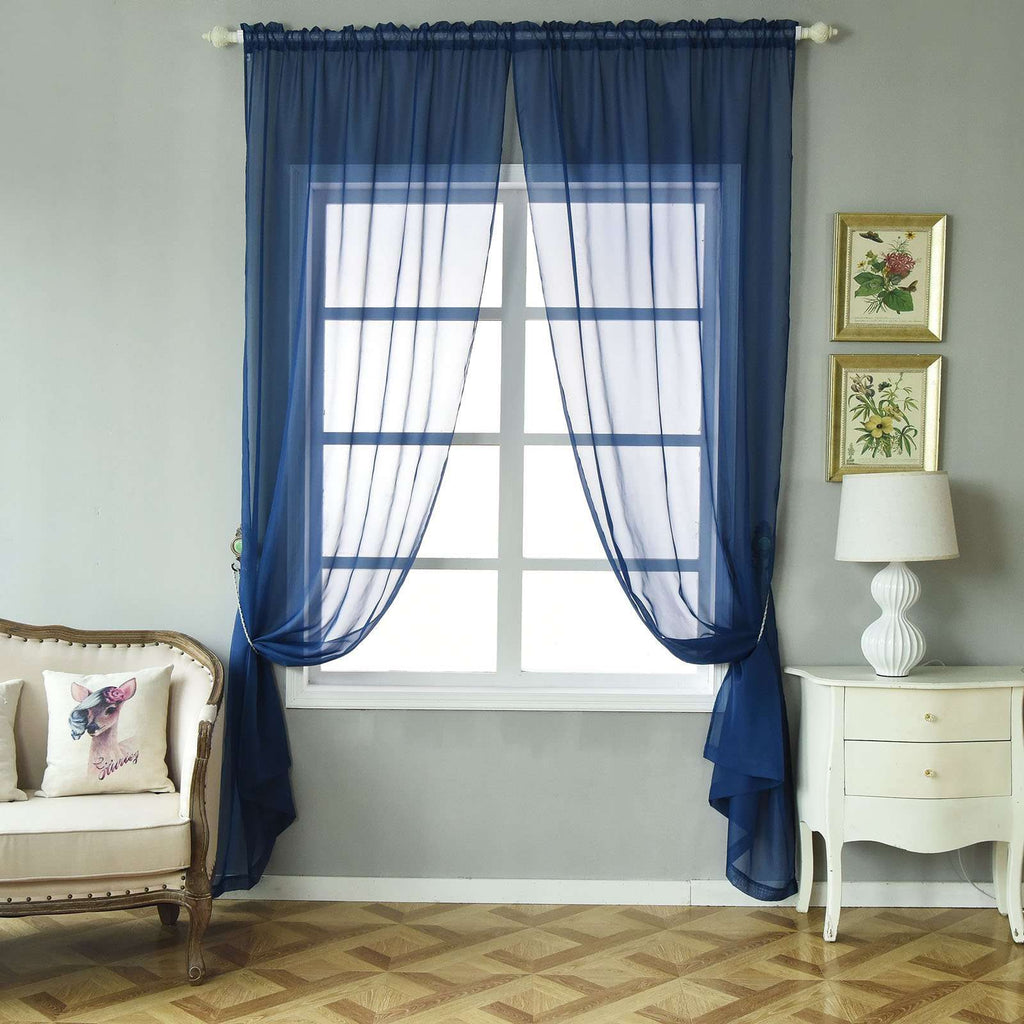 "2 Pack | 52""x96"" Navy Blue Sheer Organza Curtains With Rod Pocket Window Treatment Panels"