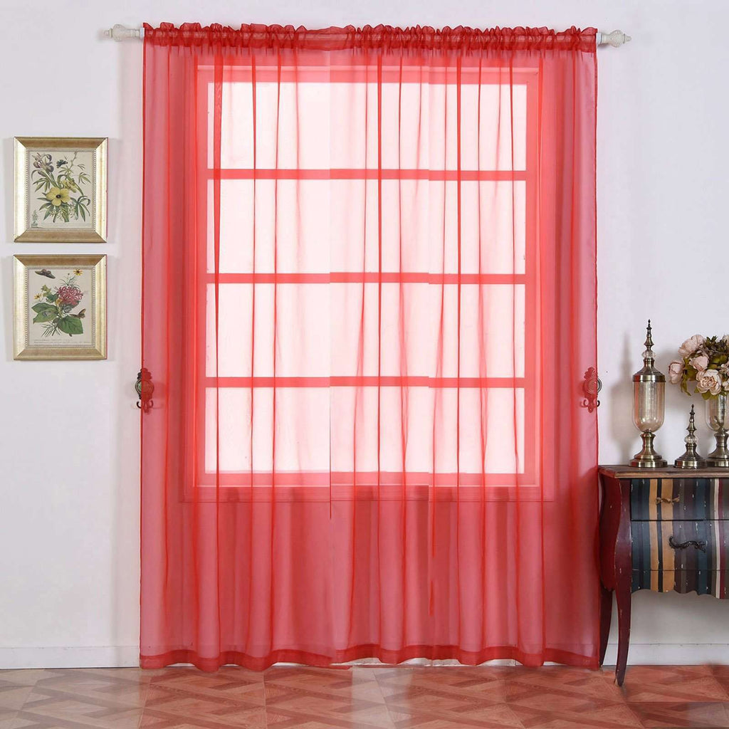 "2 Pack | 52""x96"" Red Sheer Organza Curtains With Rod Pocket Window Treatment Panels"