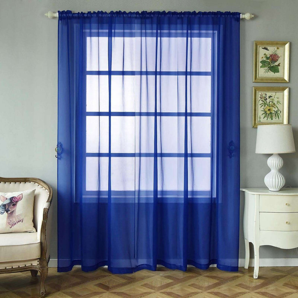 "2 Pack | 52""x96"" Royal Blue Sheer Organza Curtains With Rod Pocket Window Treatment Panels"