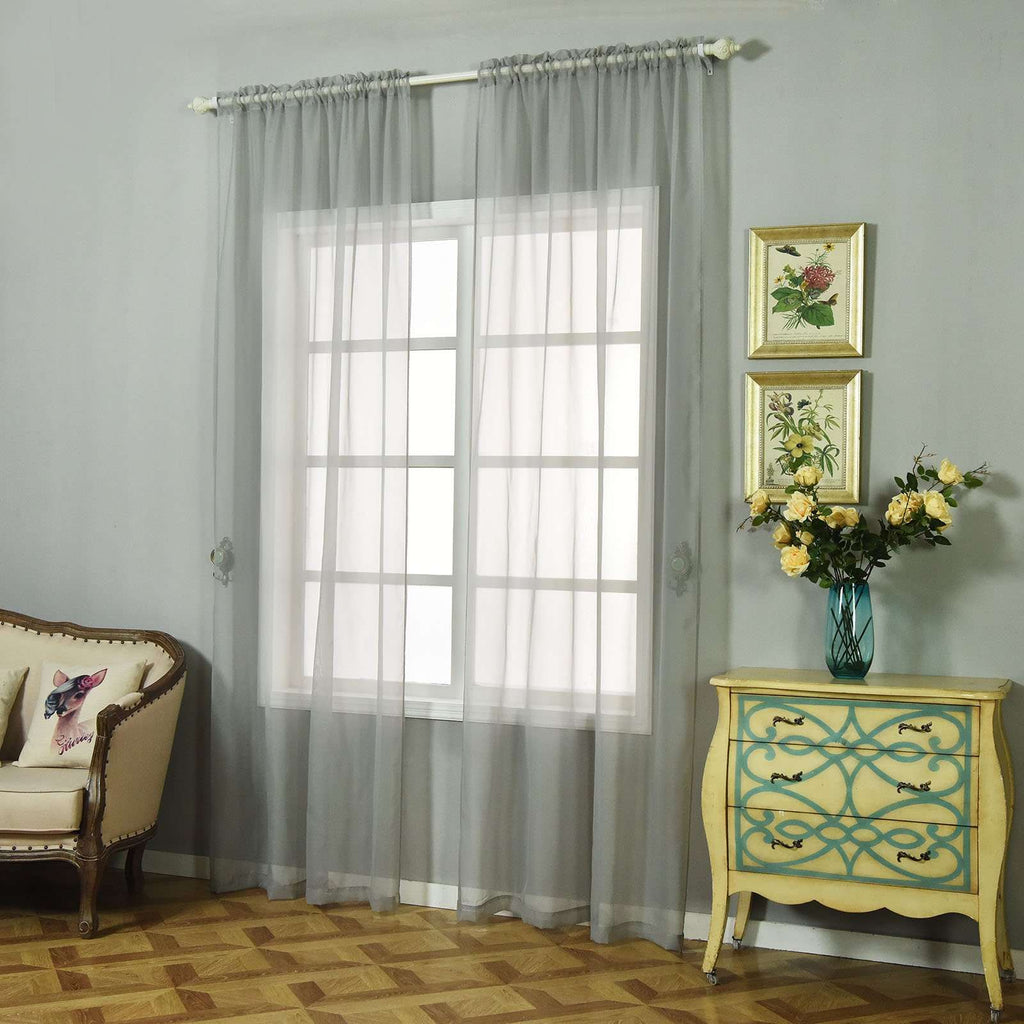 "52""x 96"" Silver Pack of 2 Sheer Organza with Rod Pocket Window Treatment Curtain Panels"