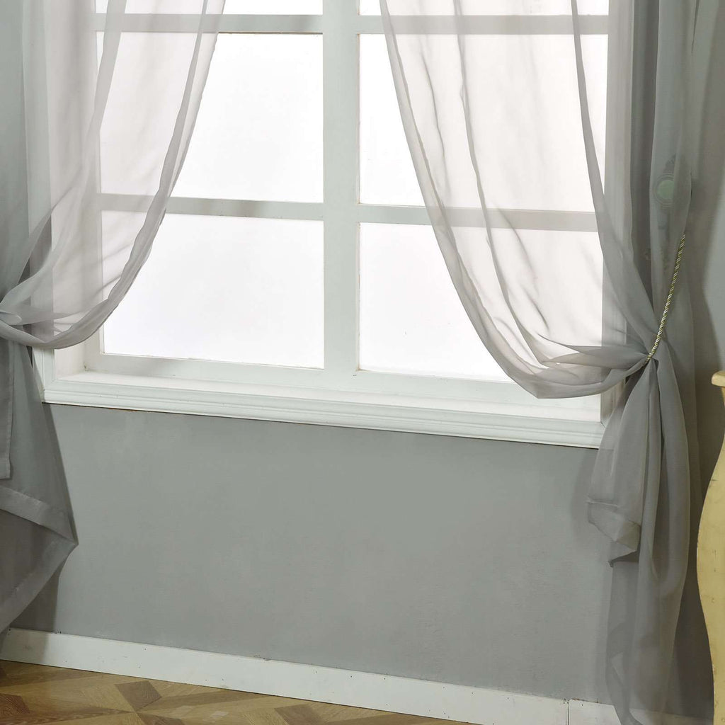 "2 Pack | 52""x96"" Silver Sheer Organza Curtains With Rod Pocket Window Treatment Panels"