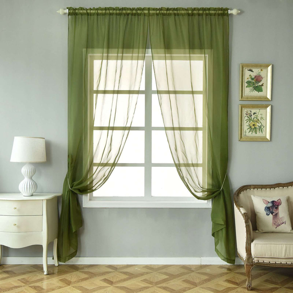 "52""x 96"" Willow Green Pack of 2 Sheer Organza with Rod Pocket Window Treatment Curtain Panels"