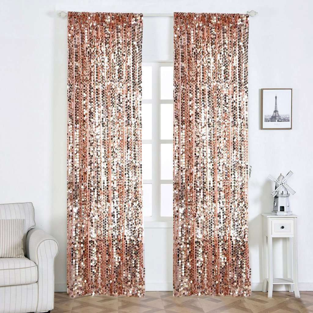 "2 Pack | 52""x108"" Big Payette Sequin Curtains With Rod Pocket Window Treatment Panels - Rose Gold 