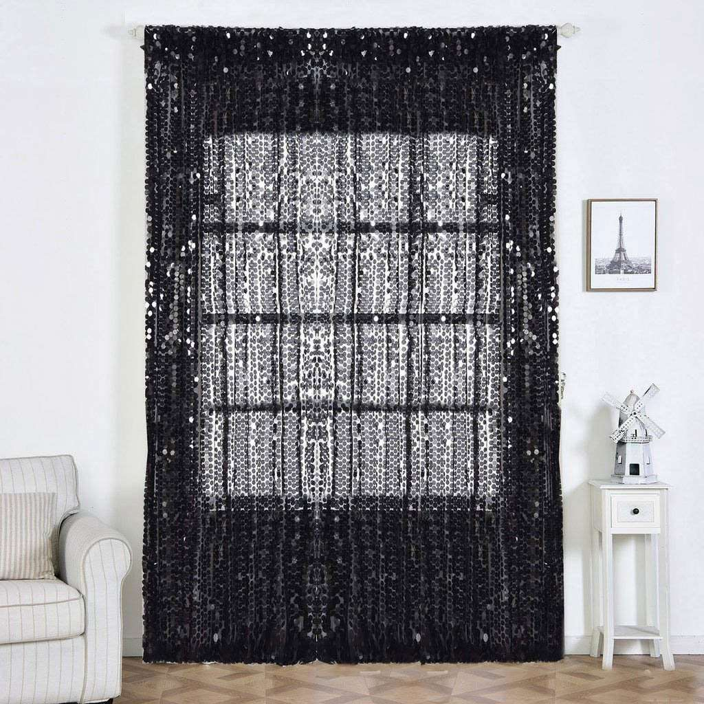 "2 Pack | 52""x108"" Black Big Payette Sequin Curtains With Rod Pocket Window Treatment Panels"