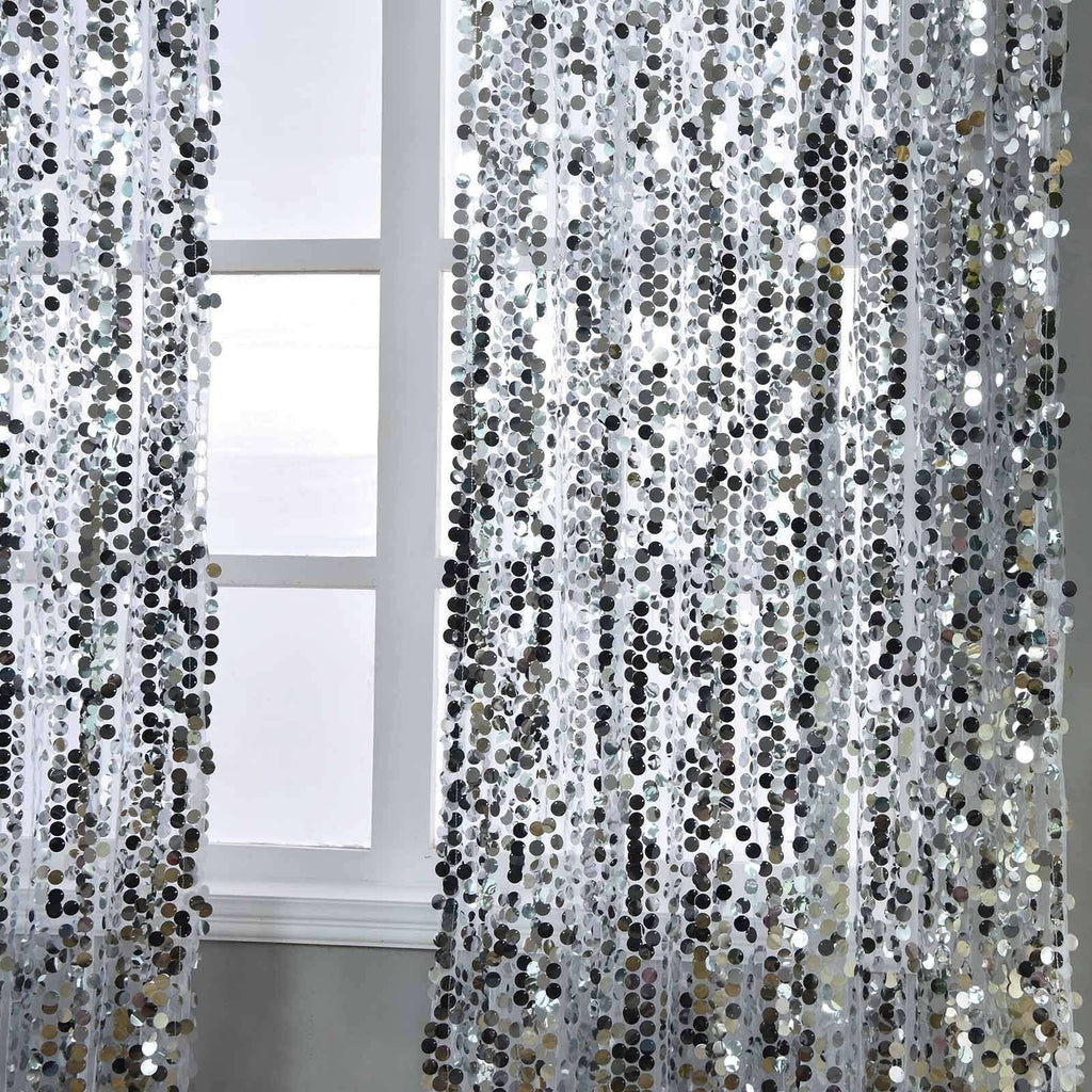 "2 Pack | 52""x108"" Silver Big Payette Sequin Curtains With Rod Pocket Window Treatment Panels"