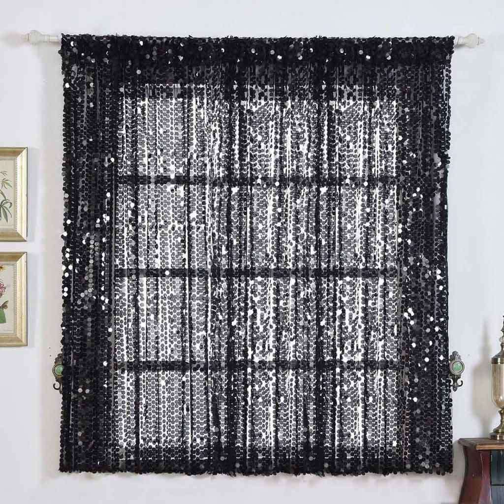 "2 Pack | 52""x64"" Black Big Payette Sequin Curtains With Rod Pocket Window Treatment Panels"
