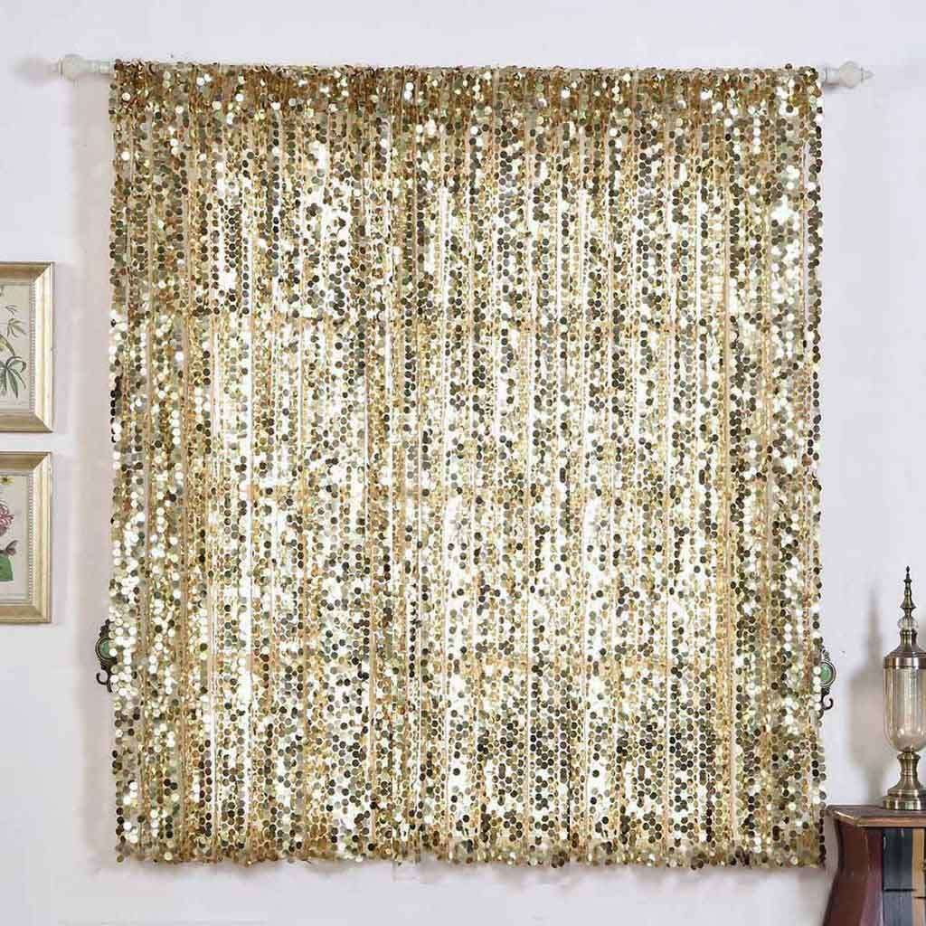 "2 Pack | 52""x64"" Champagne Big Payette Sequin Curtains With Rod Pocket Window Treatment Panels"