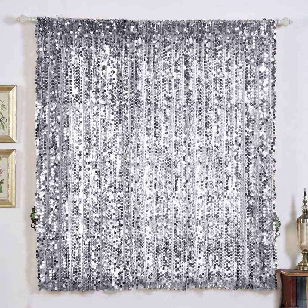 "2 Pack | 52""x64"" Silver Big Payette Sequin Curtains With Rod Pocket Window Treatment Panels"