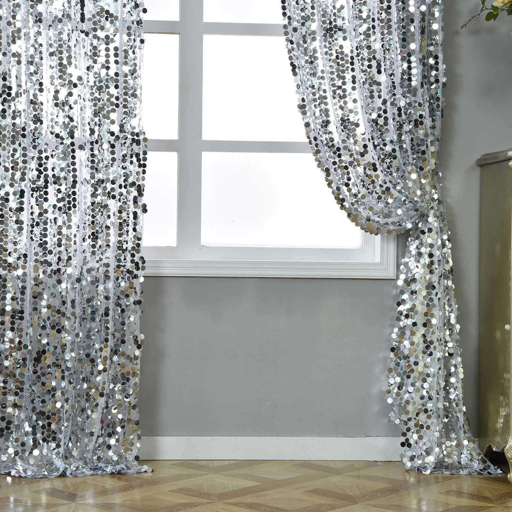 Big Payette Sequin Curtains 52x84 Quot Silver Pack Of 2 Window